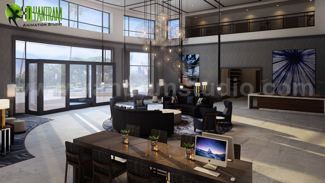 Modern Hotel Lobby Waiting Area Interior Concept