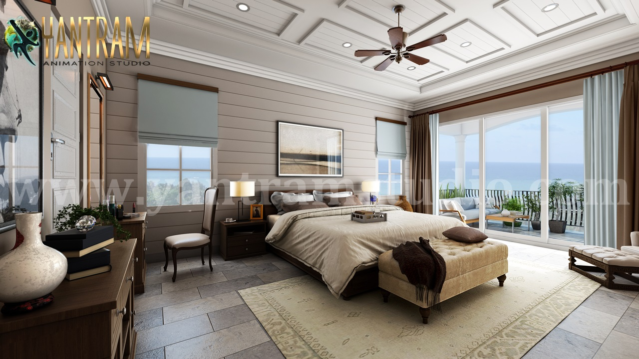 Master Bedroom with Species Balcony 5d interior rendering by