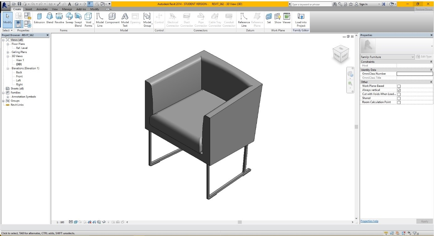 TUTORIAL 1: Creating a 3D BIM furniture object with Revit
