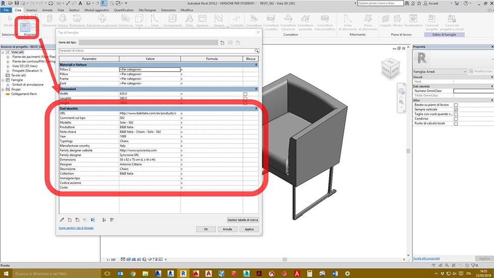 TUTORIAL 2: Revit family – The 3D BIM furniture project in