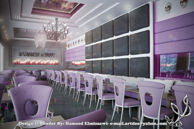Designers, architects and furniture 3d model furnishings online on Syncronia. Architecture project viola cafe, made by Hameed Elmissawi