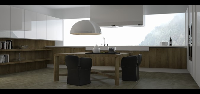 Designers, architects and furniture 3d model furnishings online on Syncronia. Architecture project alea kitchen - varenna, made by Rami Emad