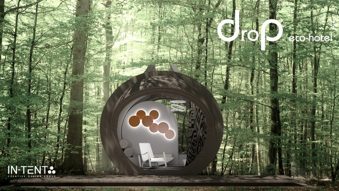 Designers, architects and furniture 3d model furnishings online on Syncronia. Architecture project drop eco-hotel, made by IN-TENTA creative design group