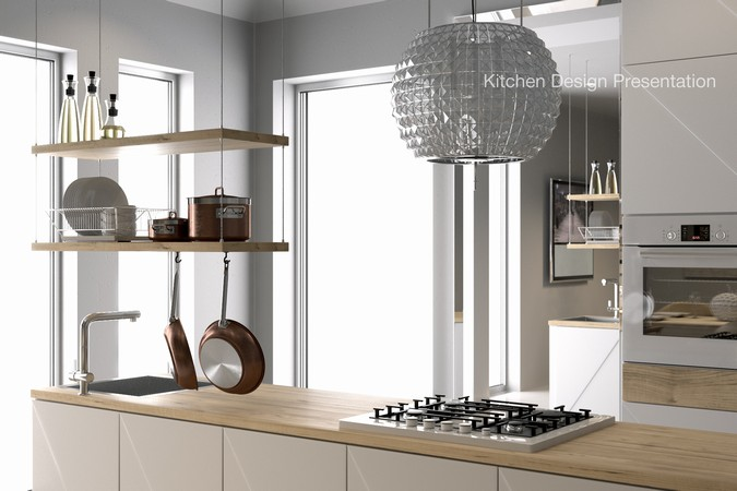 Designers, architects and furniture 3d model furnishings online on Syncronia. Architectur project kitchen design, made by Aleks. K.