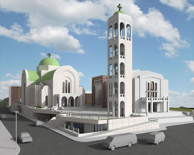 Designers, architects and furniture 3d model furnishings online on Syncronia. Architectur project tirana orthodox cathedral and arciepiscopate, made by G&N Architects