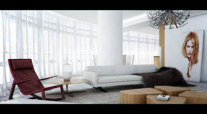 Designers, architects and furniture 3d model furnishings online on Syncronia. Architecture project rosewood penthouse, made by Rami Emad