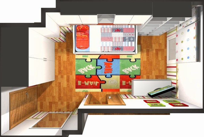 Designers, architects and furniture 3d model furnishings online on Syncronia. Architectur project dormitorio infantil con baño, made by Iris sukeldi