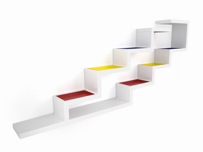 Designers, architects and furniture 3d model furnishings online on Syncronia. Architectur project zig zag bookshelf, made by Marzat Alain