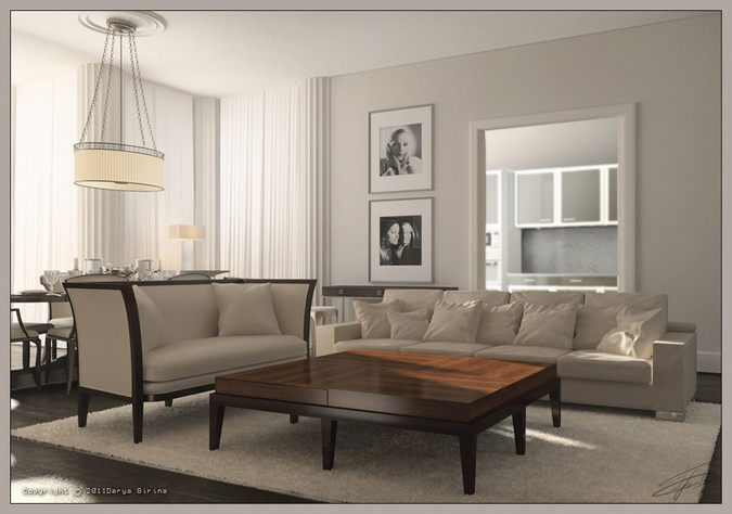 Designers, architects and furniture 3d model furnishings online on Syncronia. Architectur project private apartments, moscow, made by Darya Girina