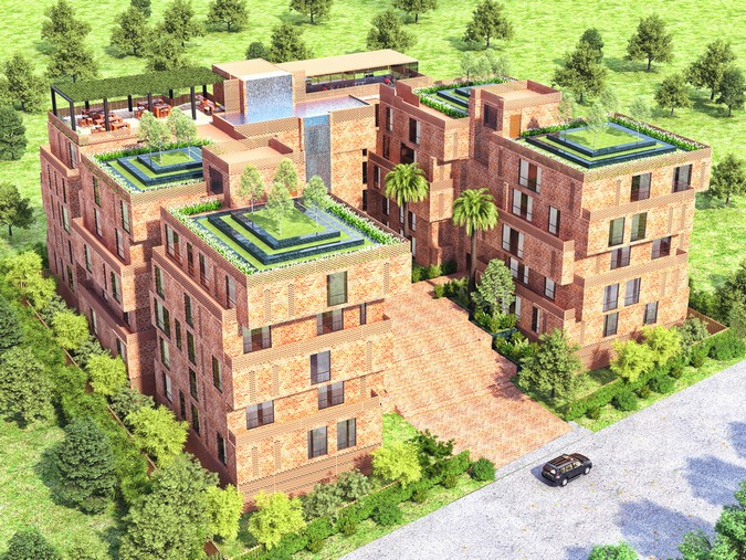 3D Architectural Exterior Rendering Bird  View