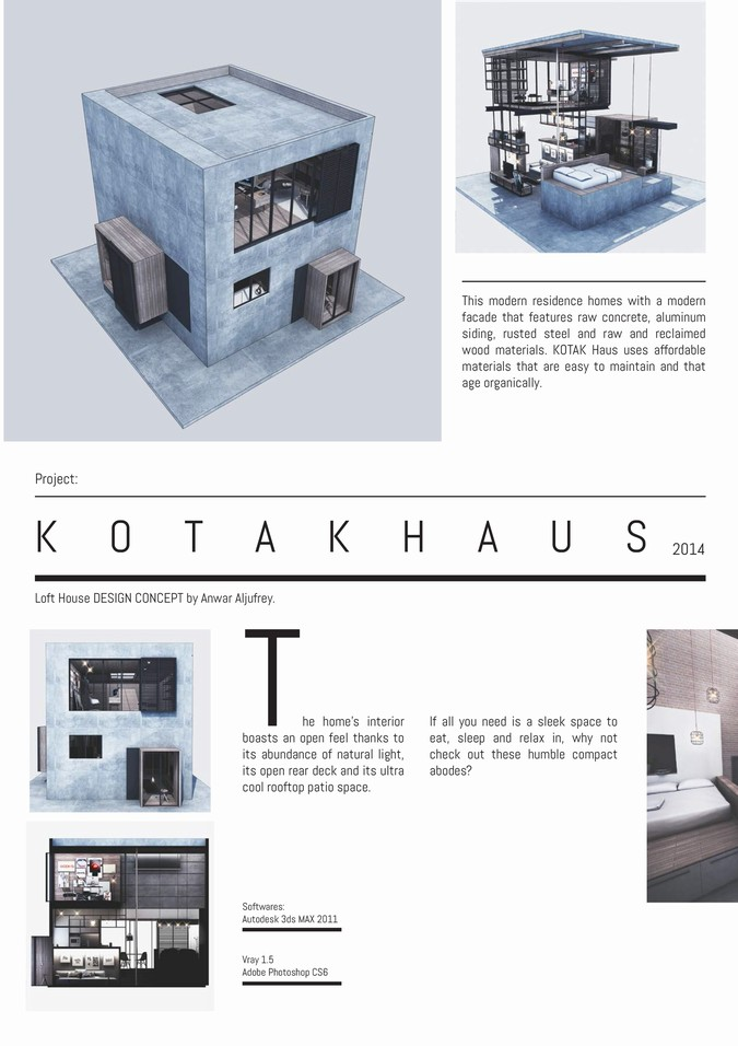 Designers, architects and furniture 3d model furnishings online on Syncronia. Architectur project kotak haus, made by Inxide Studio