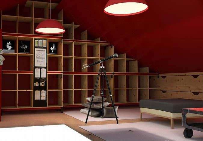 Designers, architects and furniture 3d model furnishings online on Syncronia. Architecture project zona familiar abuhardillada, made by Mª CARMEN SALVANS