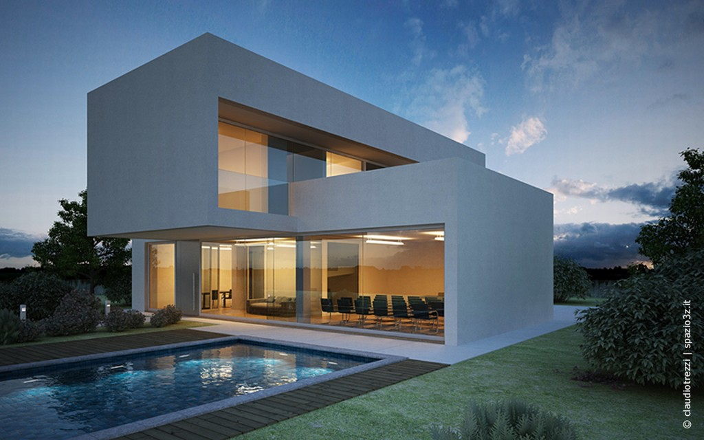 render casa con piscina made by claudio trezzi
