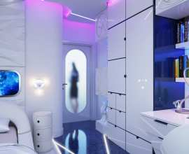 Bedroom in a futuristic style