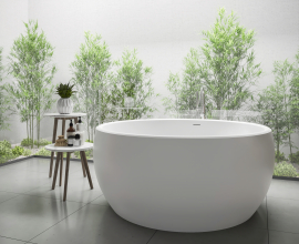 Aquatica Aura Mini Round Freestanding Solid Surface Bathtub