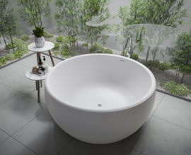 Aquatica Aura Round Freestanding Solid Surface Bathtub