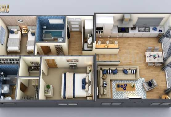 New Small House Design 3d Floor Plan By Architectural Rendering Company Los Angeles Usa Syncronia