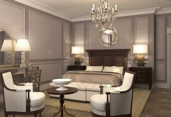 Interior design of Lux apartments of the Bariatinsky Palace (Contemporary Classic Vision of interiors)