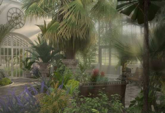 Refurbishment and architectural artistic reconstruction of Glasshouse Interiors of the Park Ensemble
