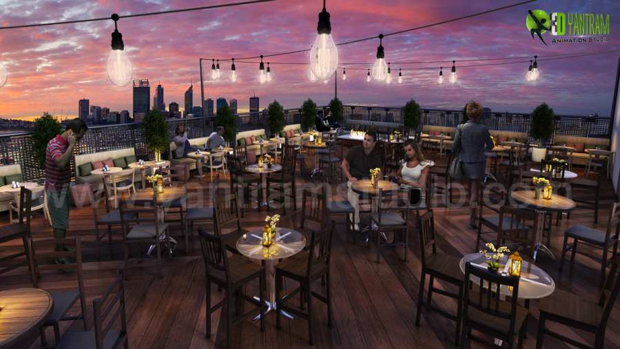 Rooftop Layout Lounge 3D Exterior Rendering Evening View by Yantram architectural visualization company San Diego, USA