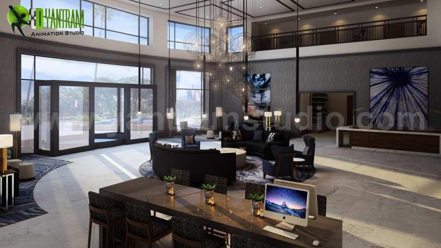 Modern Hotel Lobby , Waiting Area interior concept drawings