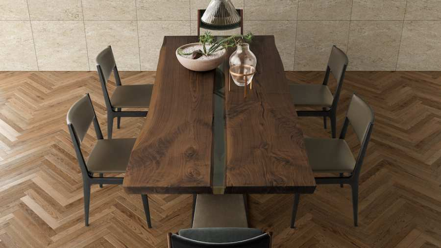 Riva 1920 tables Bedrock Plank Resin