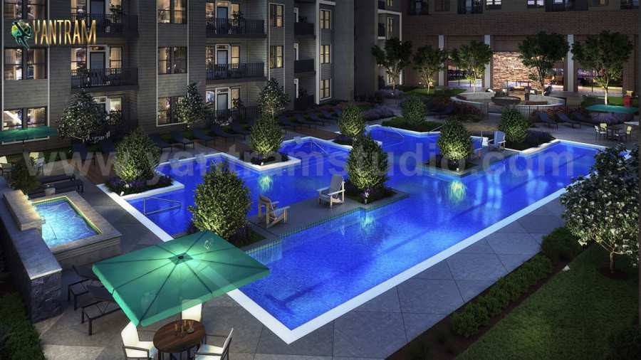 Gorgeous Courtyard Landscape Pool View Design Ideas Of 3d Exterior