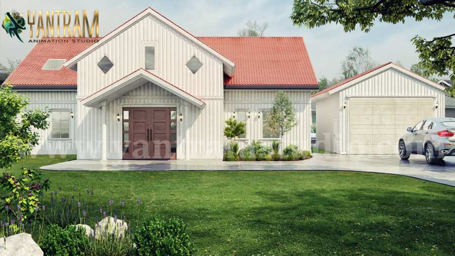 Modern Farmhouse exterior rendering services with Front yard Landscape Design by architectural planning companies