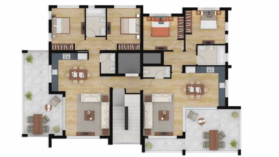Color Floor Plan Rendering Photoshop Austin Texas for Property Marketing Plan