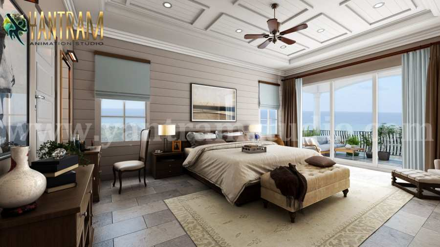 Master Bedroom With Species Balcony 3d Interior Rendering By Architectural Rendering Company Syncronia