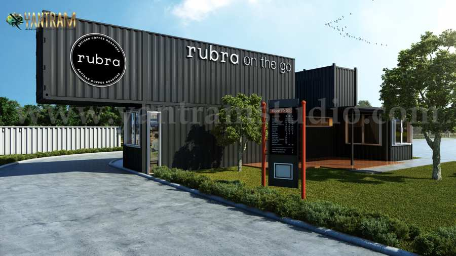 Rubra Coffee Shop 3D Exterior Design by Yantram Architectural Visualization Firm, Toronto, Canada
