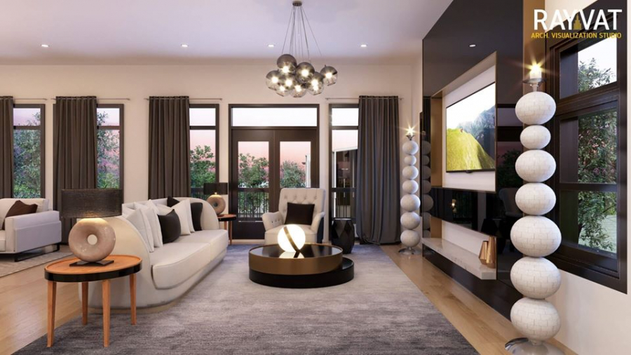 Contemporary Chic Houston Texas - 3D Interior Rendering