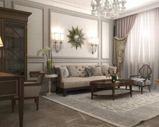 Interior design of Lux apartments of the Bariatinsky Palace (Modern Vision of interiors)