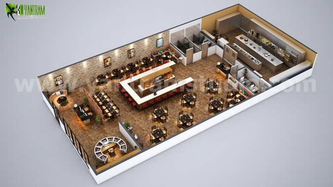 Fully Modern Bar 3D Floor Plan Design Ideas By Yantram architectural design studio London, UK
