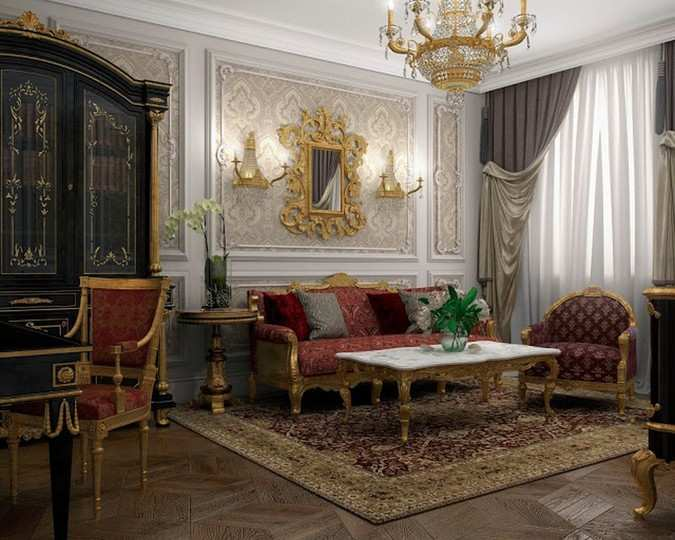Interior design of Lux apartments of the Bariatinsky Palace (reconstruction of historical interiors adapted for the current use)