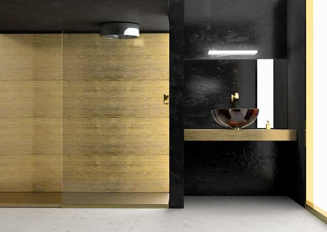 Gold wood bathroom