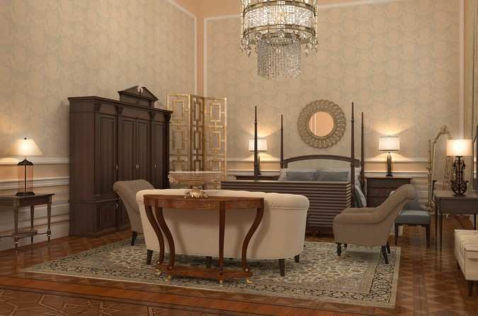 Interior design of Presidential Suite of the Bariatinsky Palace (Contemporary Classical Vision of interiors)