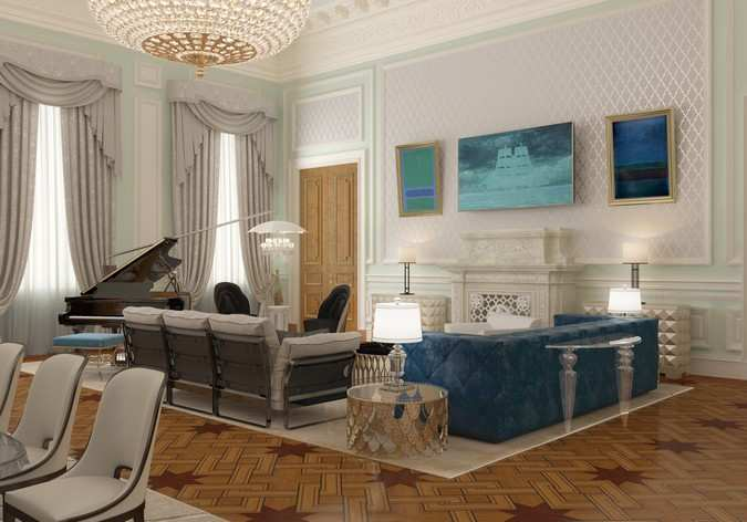 Interior design of Presidential Suite of the Bariatinsky Palace (Modern Vision of interiors)