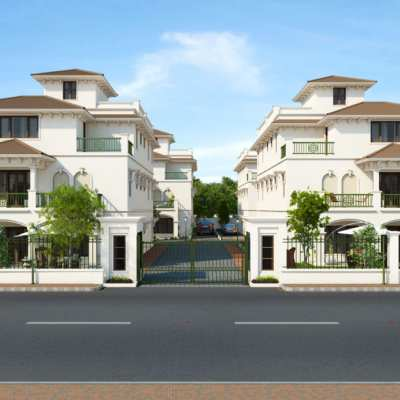 Architectural 3D Rendering Services in India for Front View of Villa