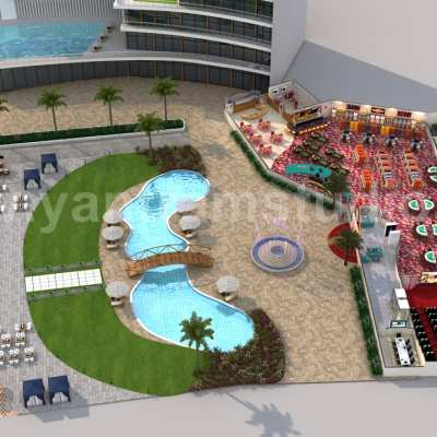 Unique Game Zone with Beach side Swimming Pool 3D Floor Plan Rendering Service