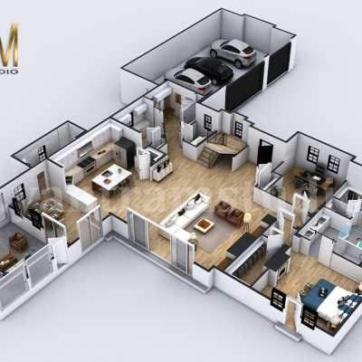4-bedroom Simple Modern Residential 3D Floor Plan House Design by Architectural Rendering Company