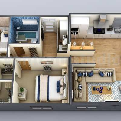 New Small House Design 3D Floor Plan by Yantarm Architectural Rendering Company, Los Angeles - USA