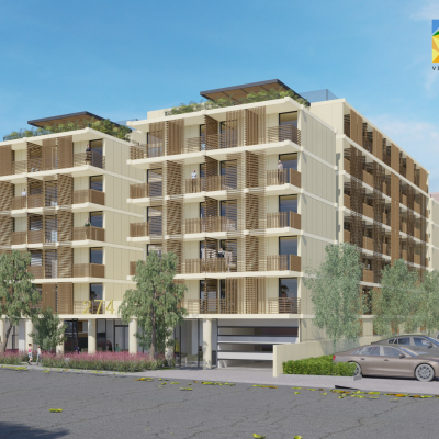 Perspective view of Multiple Family Residential Building Rendering Oakland California