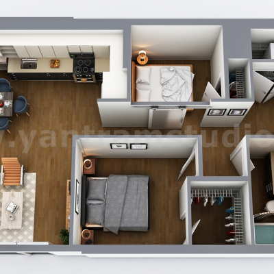 Two-Bedroom Residential House  3D Floor Plan Design by Architectural design Companies, Vegas - USA